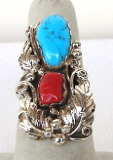 Navajo Coral and Turquoise Ring
