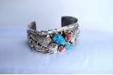 Wide Silver with Coral, Turquoise