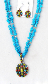 Turquoise Nugget Necklace with Multi-stone Pandant