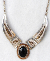 Onyx With Gold Overlay Necklace