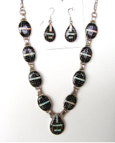 Zuni Onyx And Opal Inlay