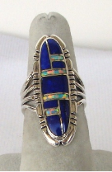 Exqusite Blue Lapis With Opal Inlay