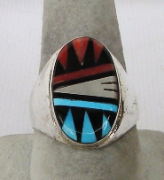 Zuni Inlay with Turquoise, Coral, Onyx, and MOP