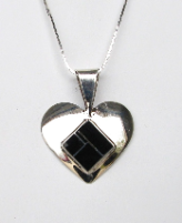 Sterling Silver Heart with Onyx