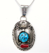 SS Turquoise and Coral Pendant