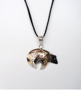 Silver Bear With Gold Overlay Pendant