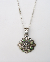 Silver With Green Turquoise Pendant