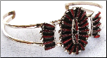 Bracelet With Coral in Pettipoint Design