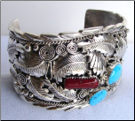 Silver with Turquoise and Coral Stones