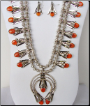 Squash Blossom Necklace with Orange Spiny Oyster Shell