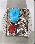 SS Mounting with Turquoise and Coral Stones