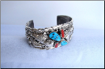 Wide Band Silver with Turquoise and Coral Stones